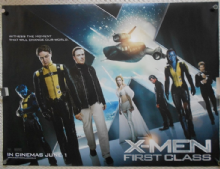 X-Men First Class, Original UK Quad, James McAvoy, Michael Fassbender, '11